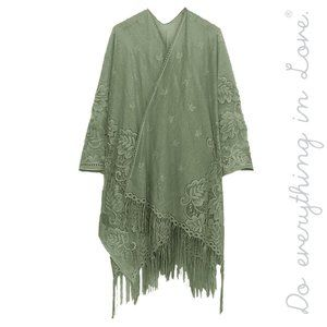 Floral Lace Kimono with Fringe - Sage Green